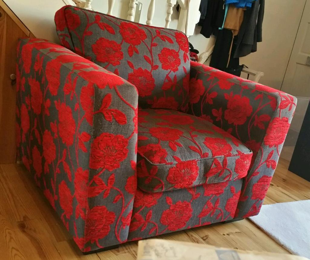 fabric sofas uk cheap sofa small size dfs armchair chair grey red floral pattern | in wembley ...