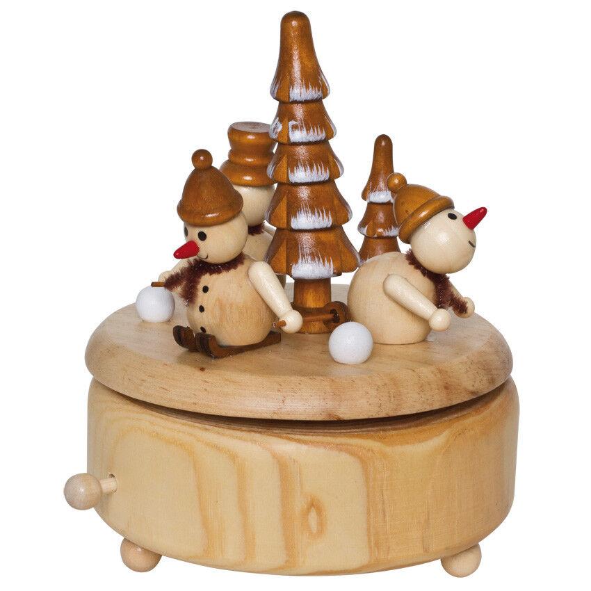 Spieluhr Spieldose Schneemänner im Wald Holz natur Weihnachtsdekoration