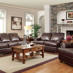 Living Room With Loveseat And Chairs Furniture Color Schemes Traditional Brown Bonded Leather Sofa Chair 3 Piece Antique Set