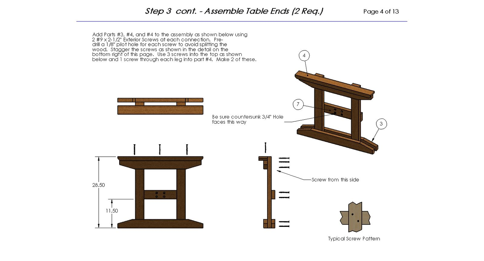 8ft Trestle Style Picnic Table With Benches Plans
