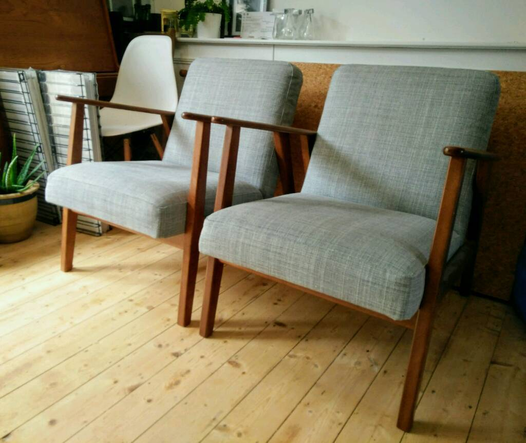 recliner chairs gumtree wedding chair covers etsy ekenaset armchairs x2 ikea mid-century style, grey/wood | in brislington, bristol