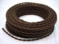 Dark Brown Cloth Covered Wire Vintage Rewire Kit Lamp Cord