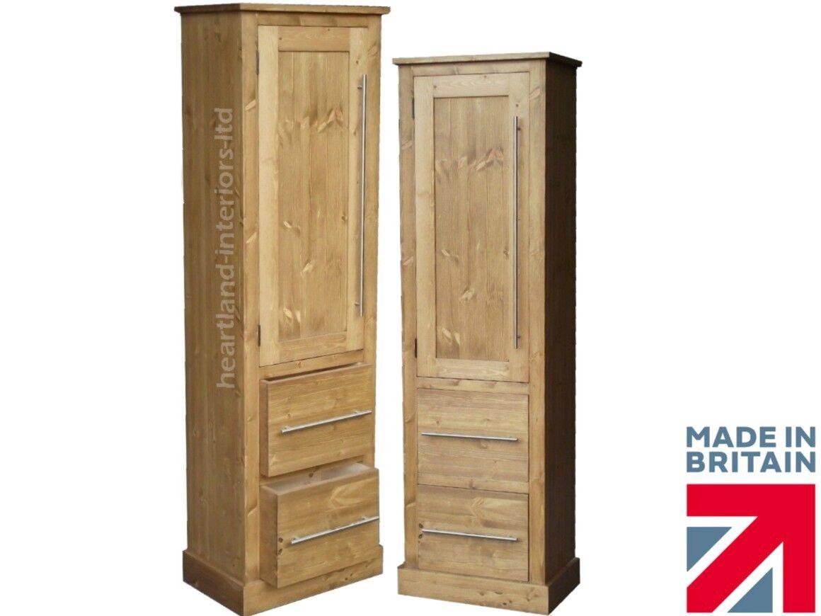Solid Wood Slim Cupboard, Tall Linen, Pantry, Hallway