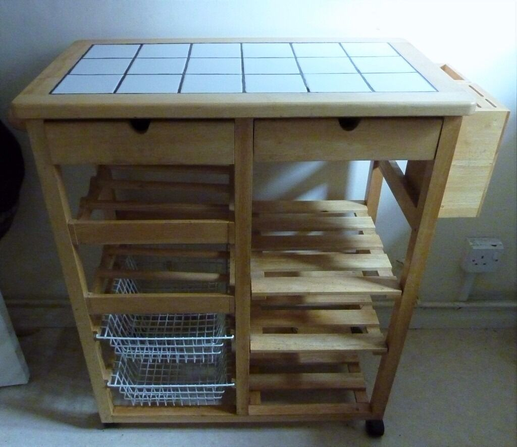 Pine Tile Top Kitchen Trolley With Wine Rack Vegetable