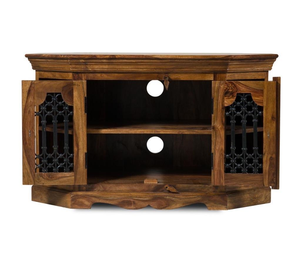 Sheesham Real Solid Wood Corner Unit TV Stand With Wrought