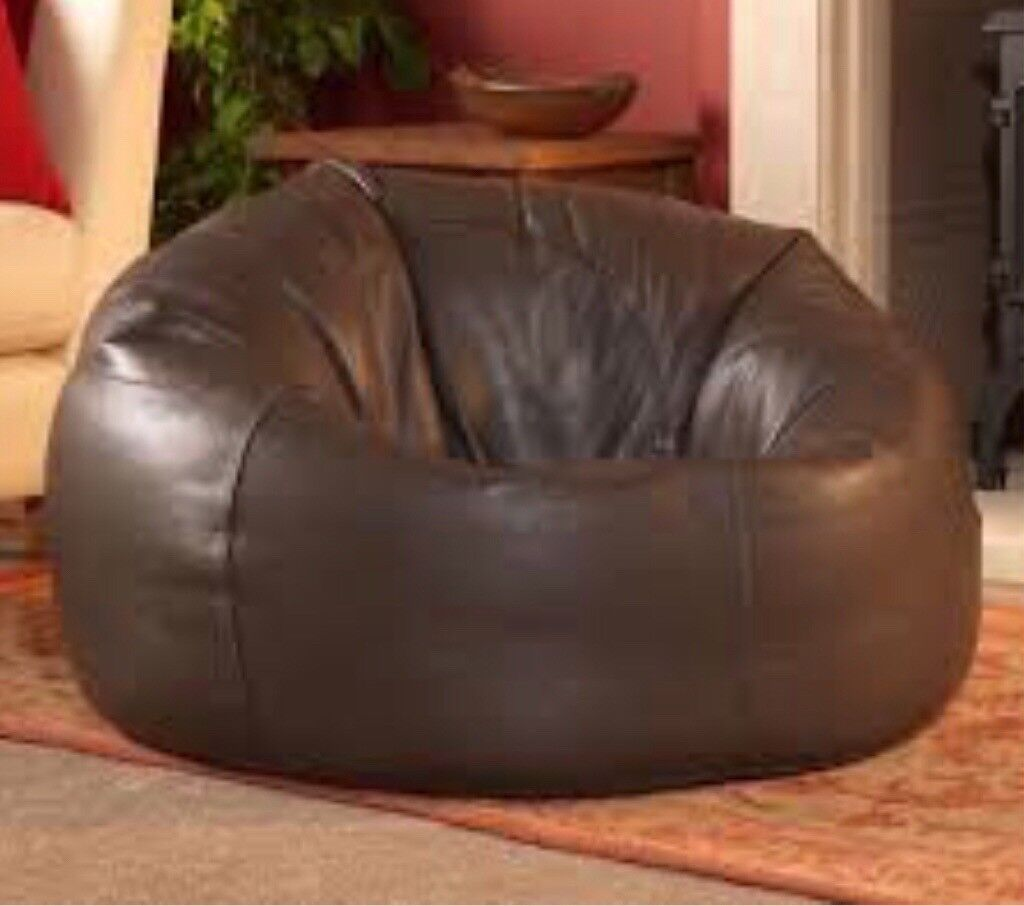 brown faux leather bean