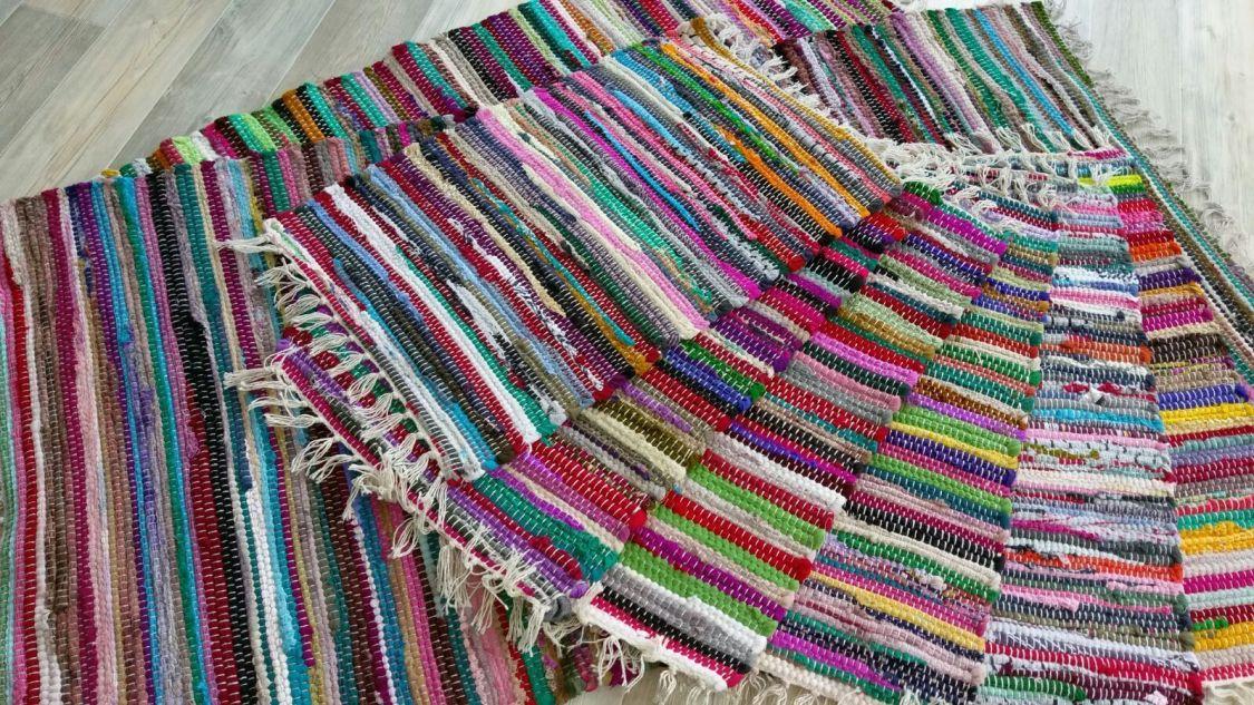 Fleckerl Handweb Teppich Kufstein multicolor aus Baumwolle Handwebteppich Multi