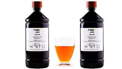 Lachsöl 2x1L, für  Hunde, Katzen,Pferde,100% natürliches Produkt,Barfen,Omega3