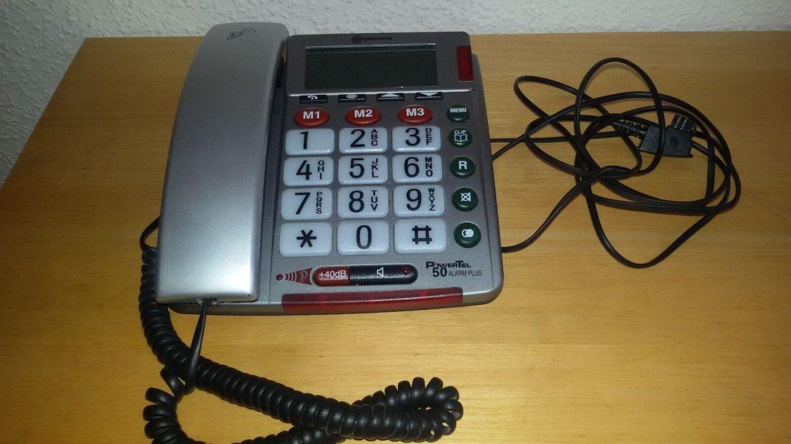 Audioline BigTel 50 silber, Seniorentelefon mit großen Tasten