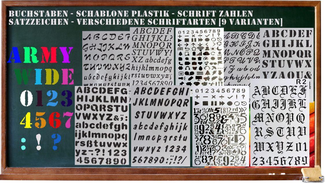 Buchstaben - Schablone Plastik - Schrift Zahlen Satzzeichen - vers. Schriftarten