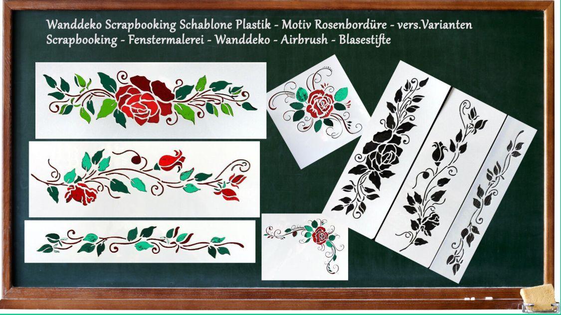 Wanddeko Scrapbooking Schablone - Plastik - Motiv Rosenbordüre - vers.Varianten