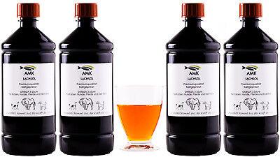 Lachsöl 4x1L, für  Hunde, Katzen,Pferde,100% natürliches Produkt,Barfen,Omega3