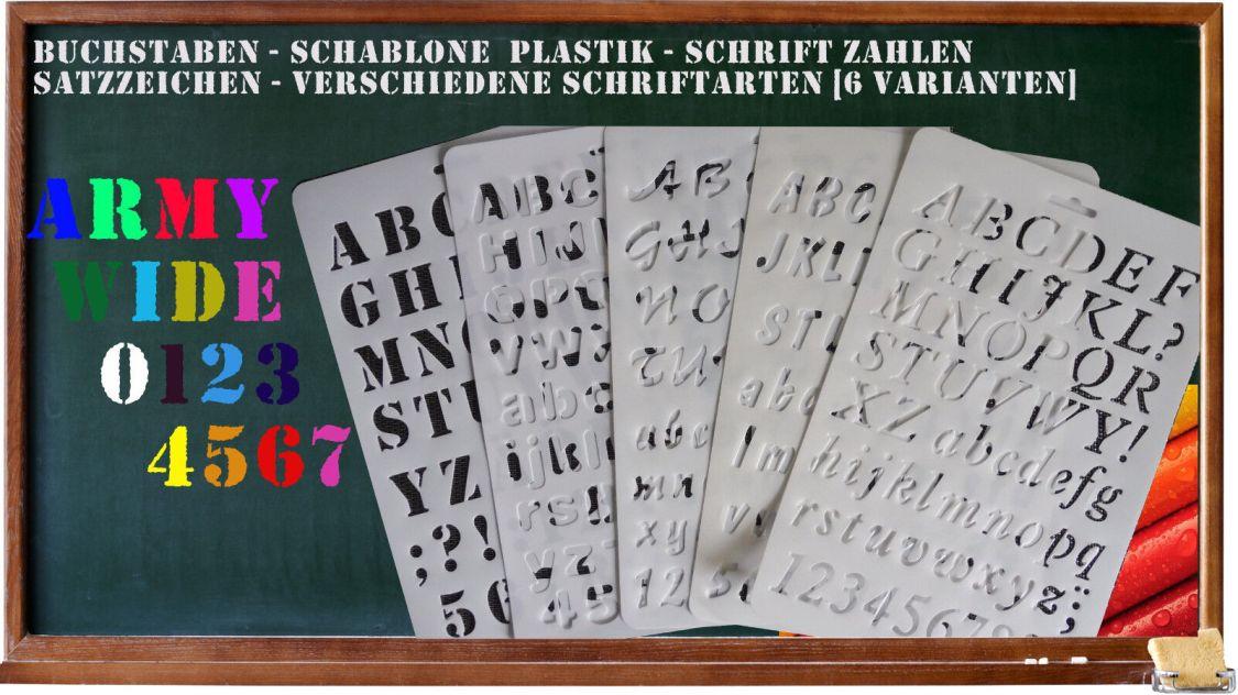 Buchstaben - Schablone A4 Plastik - Schrift Zahlen Satzzeichen - vers. Schriften