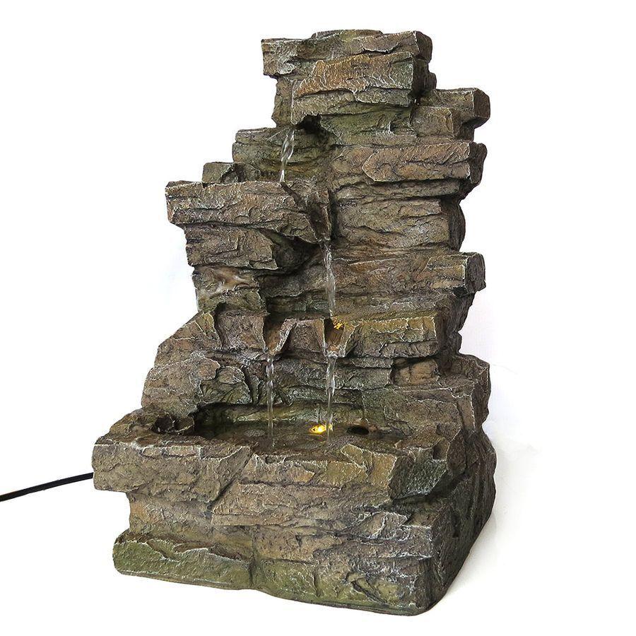 Zimmerbrunnen Wasserfall 39 cm hoch mit LED-Beleuchtung Deko Wasserspiel IP44