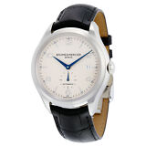 Baume And Mercier Clifton Silver Dial Black Leather Automatic Mens Watch