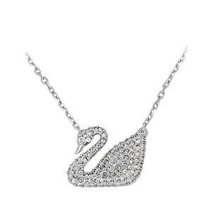Swarovski Crystal Swan Pendant Necklace - Silver