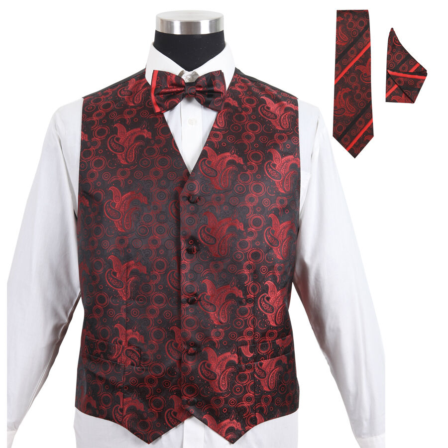 Men's Paisley Tuxedo Formal Vest Red 4pc Set #005