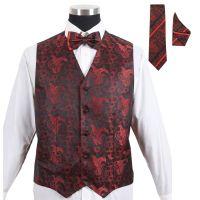 Men's Paisley Tuxedo Formal Vest Red 4pc Set #005 - Vest w ...