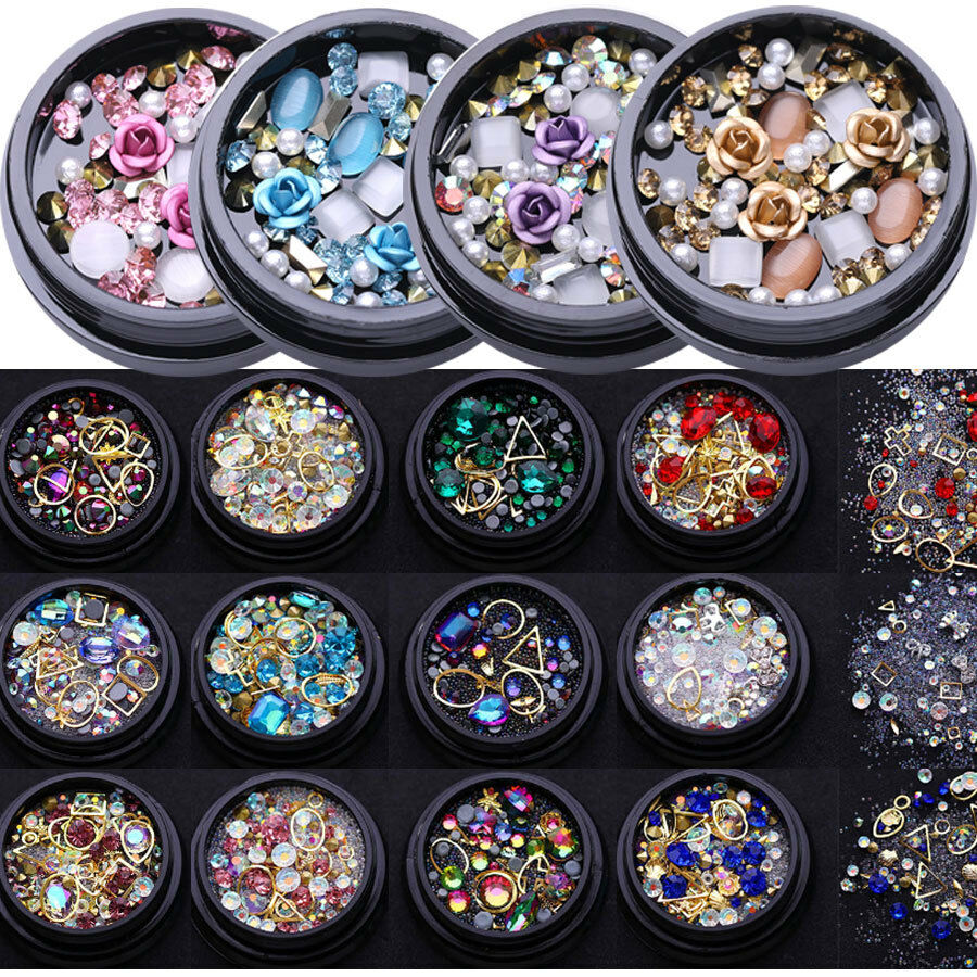 Rose Kristall Nagel Glitzer Straßsteine Jewelry Gems Mix 3D Nail Decoration