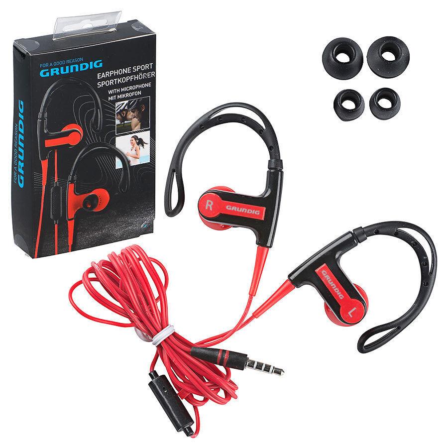 Grundig Sport-Kopfhörer mit Mikrofon schwarz rot in Ear Ohrbügel Running Fitness
