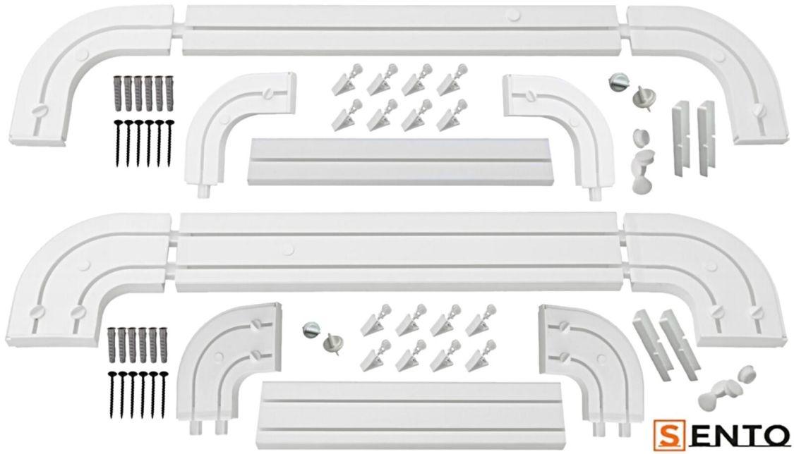 1,2-läufig Gardinenschiene Vorhangschiene Innenlaufschiene mit Rundbogen Set