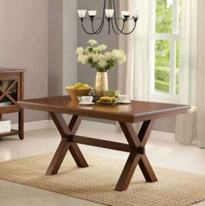 kitchen table small living spaces tables ebay farmhouse dining breakfast nook wood trestle legs furniture