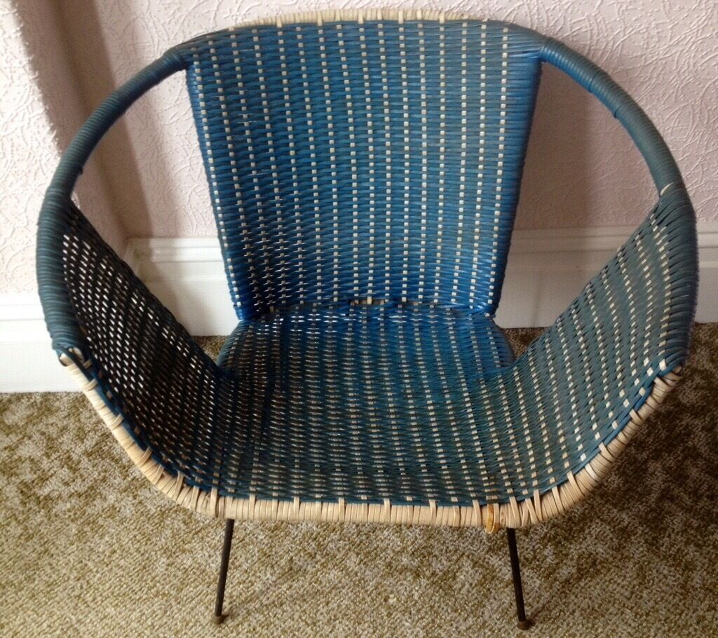 Satellite Chair Vintage 1950 60 39s Retro Blue And Cream Satellite Chair In