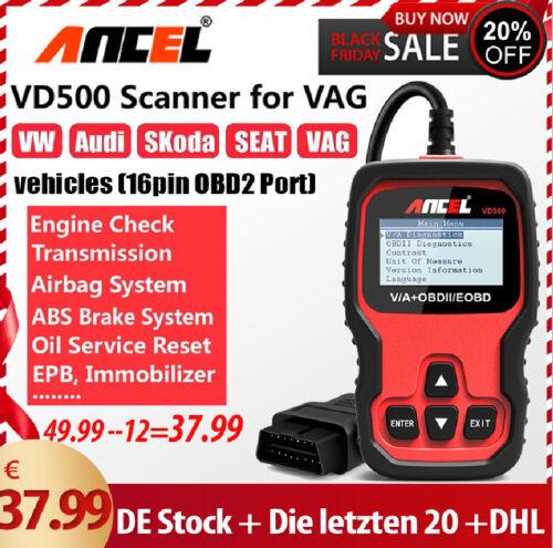 Ancel VD500 ABS SRS EPB Oil Diagnosegerät Scanner KFZ OBD2 Codeleser für VW Audi