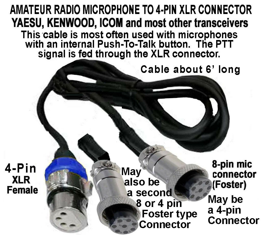 hight resolution of details about amateur cable yaesu kenwood icom 8 pin 4 pin mic to 8 pin 4 pin or xlr 4 pin