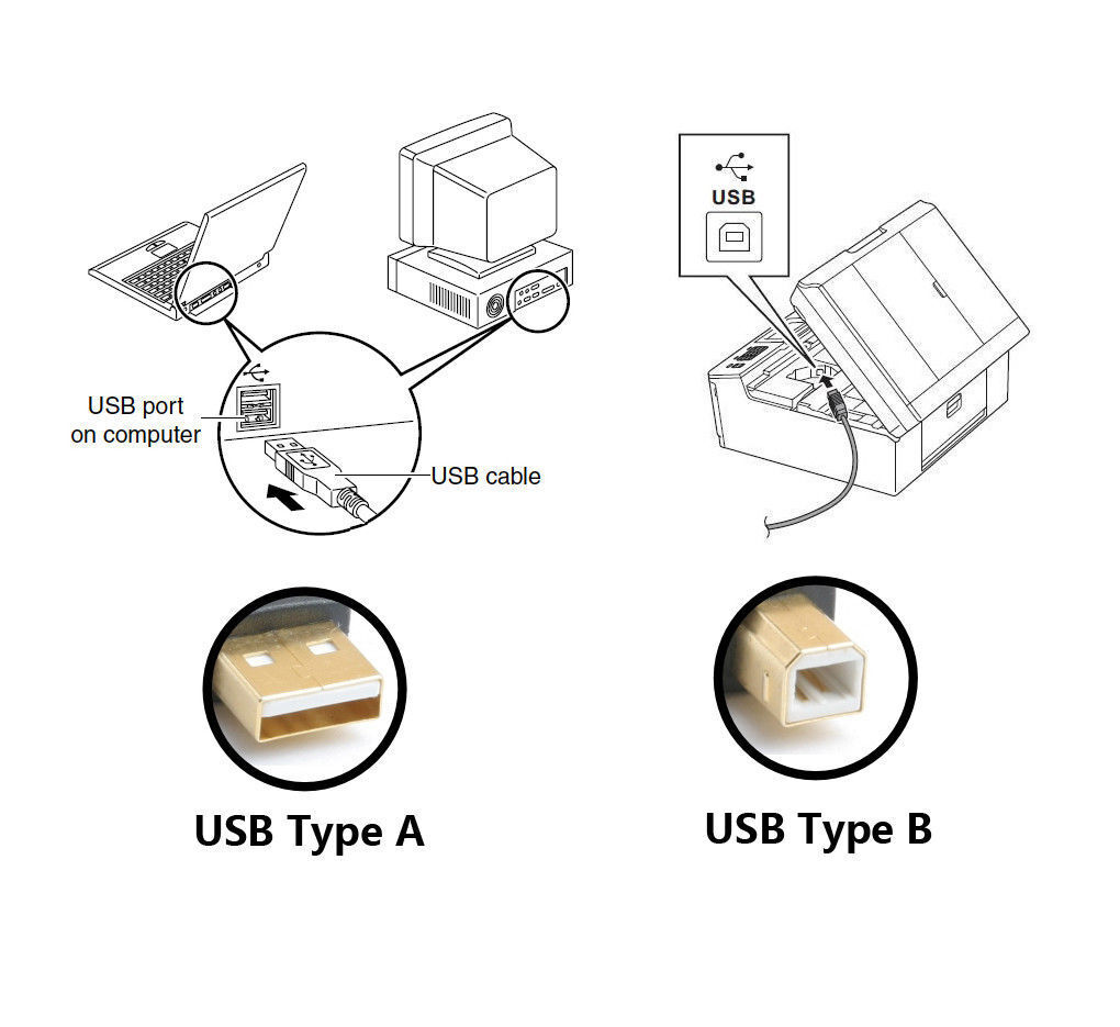 Universal Printer Cable USB 2.0 Type A Male to B for