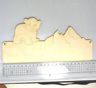 Türschild Eisbär 23,5 cm Familienschild aus Holz  Arktis Nordpol Holztürschild