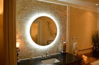 """MAM2D32-32"""" Round side lighted vanity mirror - wall ..."""