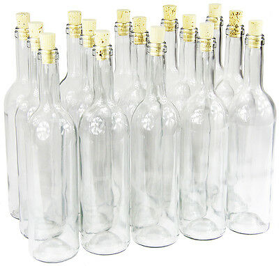 15 x 750 ml Weinflasche mit Korken Glasflasche leere Flasche Likör Wein neu