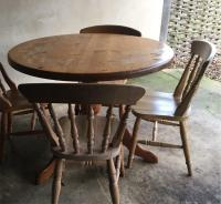 Free to good home!! Round pine kitchen table with 4 ...