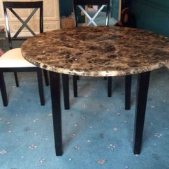Round Marble Table And Chairs Upholstered Counter Height With Arms As New Priced To Go Effect Dining 4