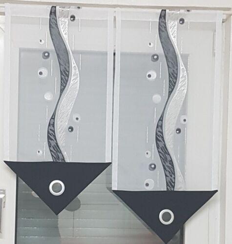 Scheibengardine schwarz weiß grau