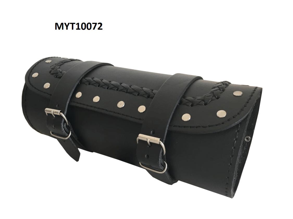 Motorrad Werkzeugrolle Tool Bag Gepäckrolle Chopper (Universal) Leder Schwarz