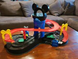 mickey mouse table and chairs australia red leather recliner disney motors track raceway set toys indoor