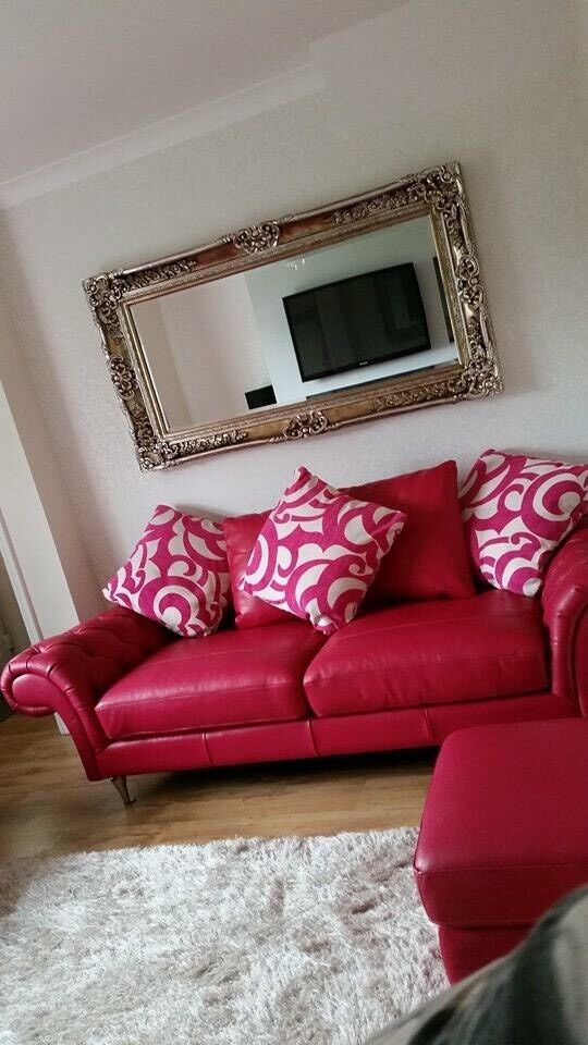 burlesque pink sofa cotton slipcover uk leather 3 seater 2 and pouffe in
