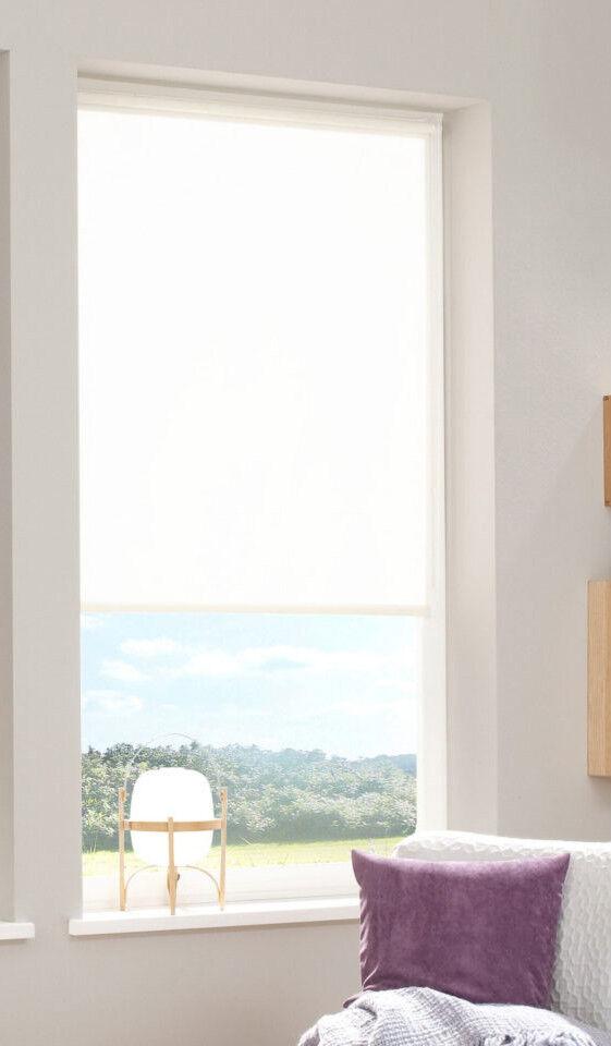 Klemmfix Rollo Lorcas Sonnenschutzrollo gemustert Creme weiß 45 - 100 cm breit