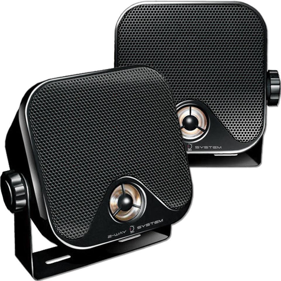 DIETZ Kfz Aufbau- Lautsprecher in schwarz 2-Wege Koax für Auto Boot Laube Keller