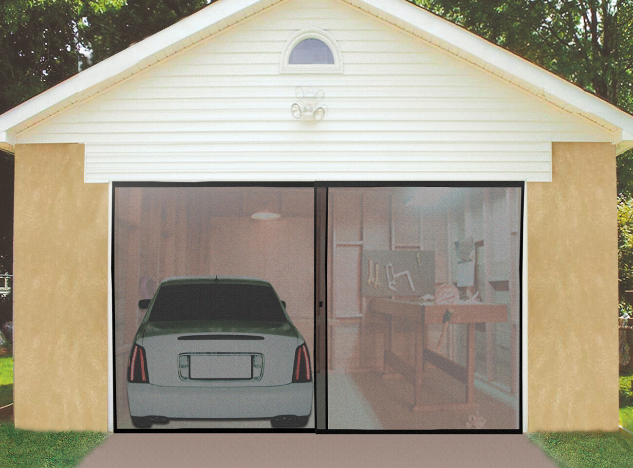 Deluxe Double Garage Door Screen Black Magnetic closure Mosquitoinsect weighted  eBay