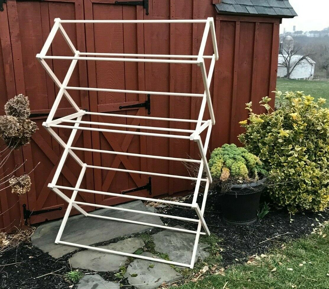 folding laundry clothes drying rack portable heavy duty wooden amish made usa