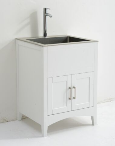 26 wide stainless steel laundry sink cabinet combo