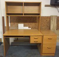 Office computer desk with pedestal and over desk shelf ...