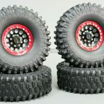 1 10 Scale Metal Truck Wheels Tires 1 9 Beadlock Rims W Tires V1 Black Red Ebay