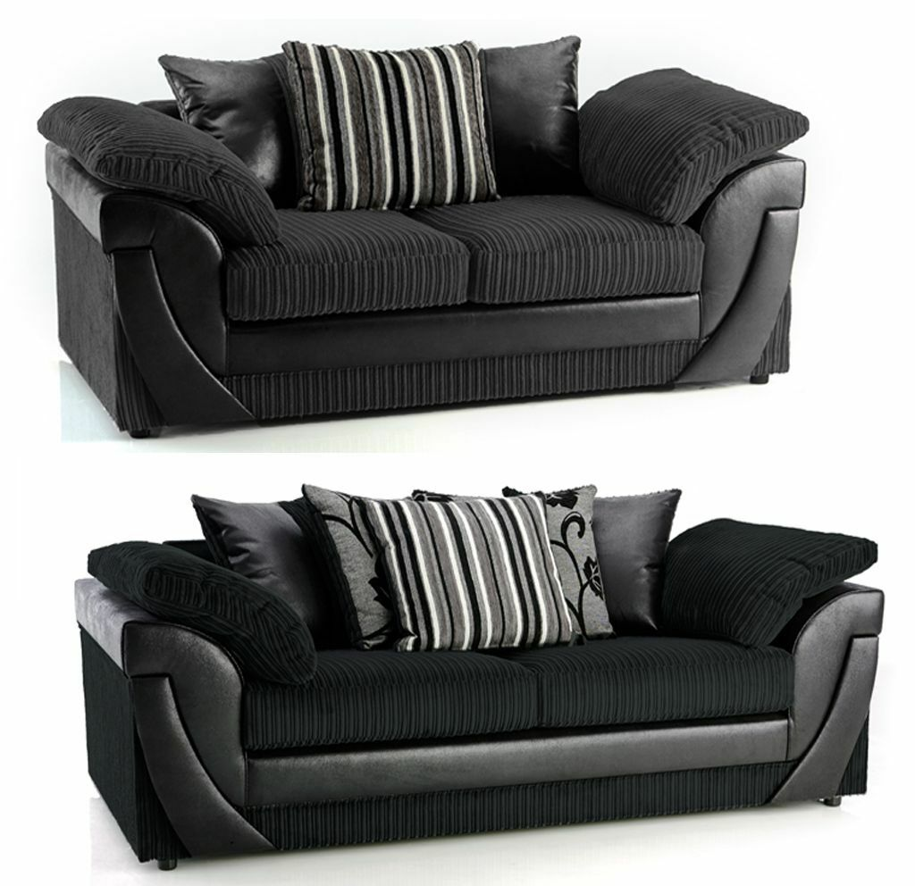 black 3 seater sofa and cuddle chair buy loveseat bed 2 fabric set corner sofas also in same style