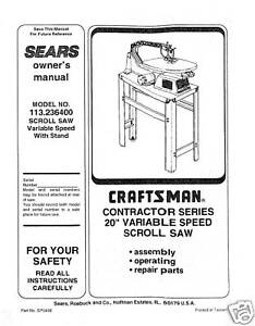 Craftsman-20-Scroll-Saw-Manual-Model-113-236400