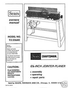 Craftsman-6-1-8-Jointer-Operators-Manual-No-113-20680