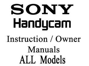Sony Handycam User Guide Instruction Manual SR SX XR